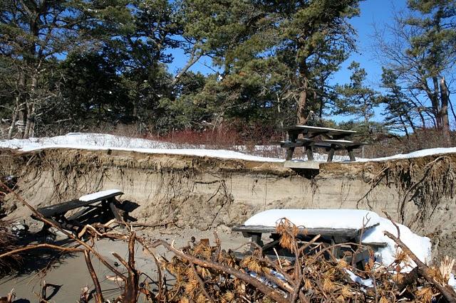 Erosion damage at Popham Beach