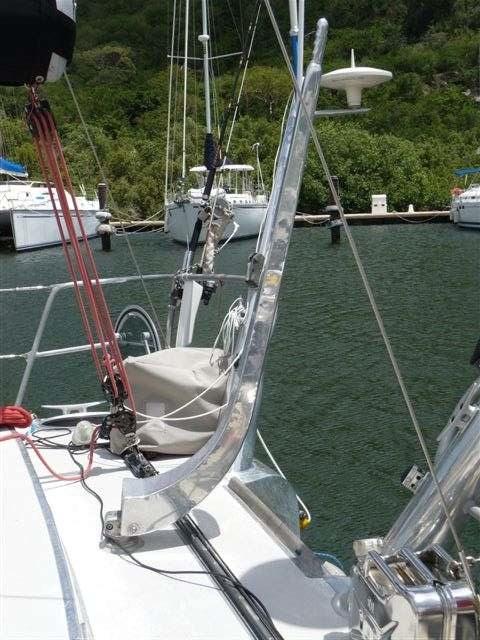 Polished aluminum sailboat tiller
