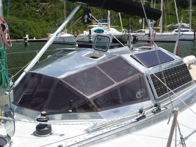 Cabinhouse on polished aluminum sailboat