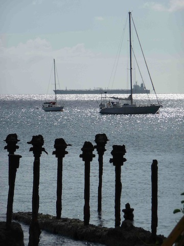The anchorage at Oranje Baai, Statia