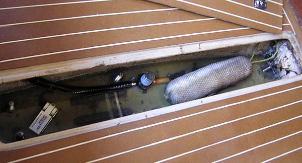 A shallow sailboat bilge
