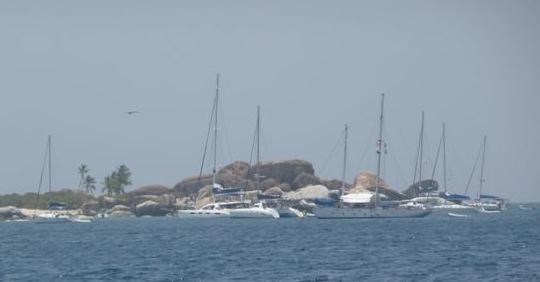 Boats moored at the Baths, Virgin Gorda