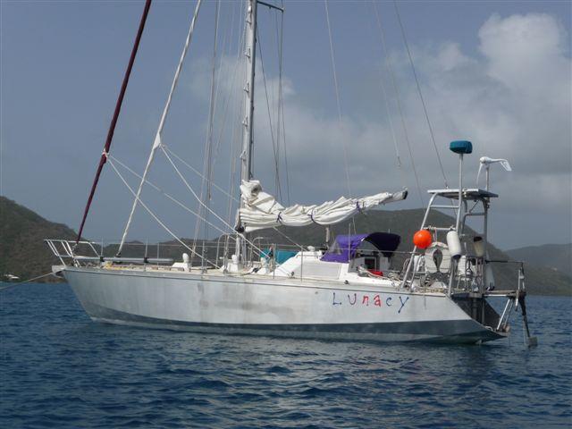 Lunacy at anchor off Spanish Town, Virgin Gorda