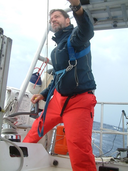 Trimming the jib during a Gulf Stream squall