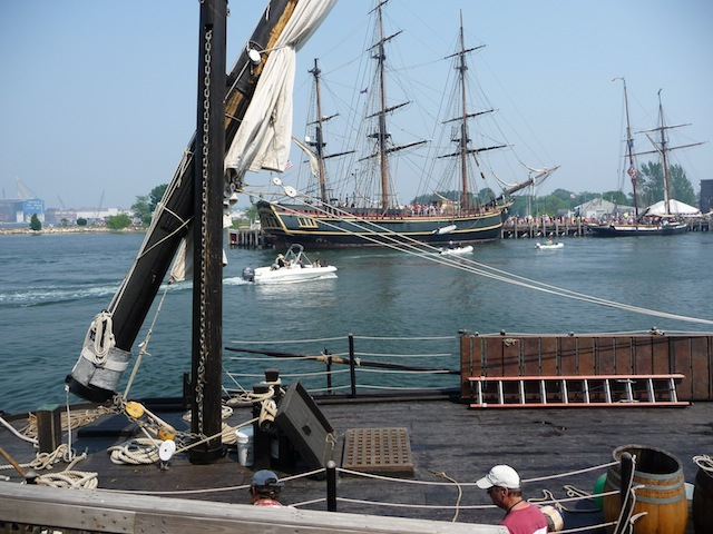 HMS Bounty and Lynx as seen from the gundalow