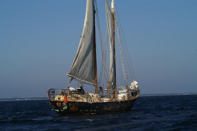 Raising sail on the schooner Anne