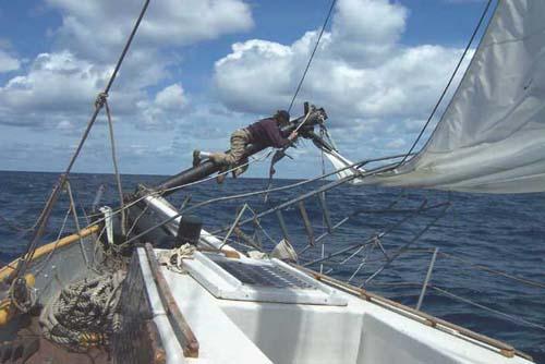 Reid Stowe repairs bowsprit on Anne