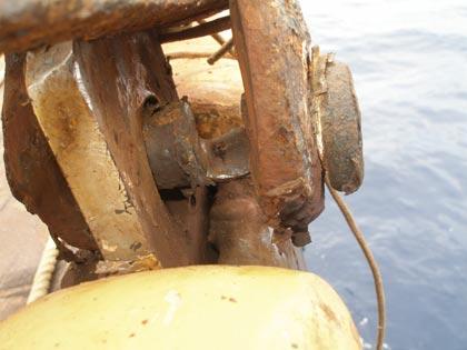 Worn turnbuckle pins on schooner Anne