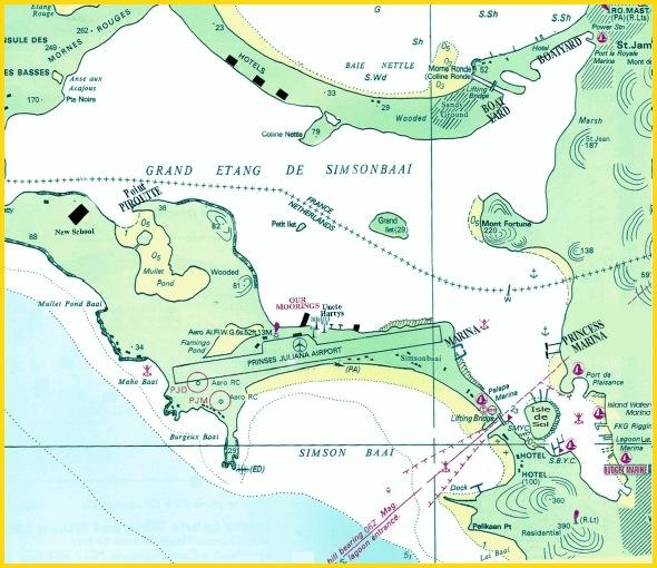 Map of Simpson Bay Lagoon