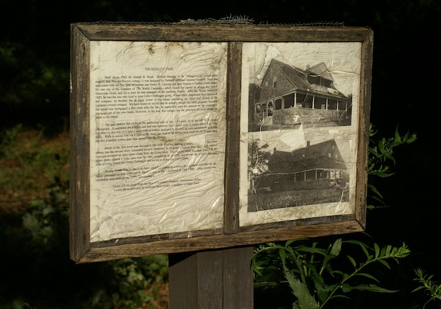 Plaque for ruined house on Little Chebeague Island