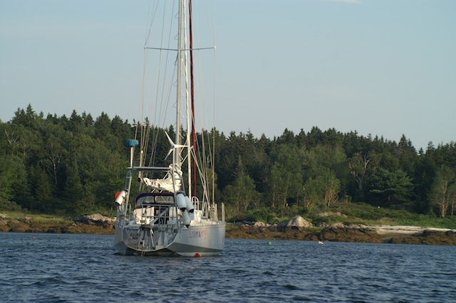 Lunacy anchored off Malaga Island