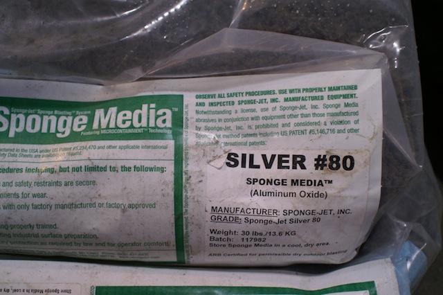 A bag of sponge blast media
