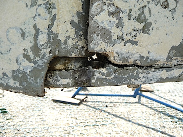 Injured rudder heel on Lunacy