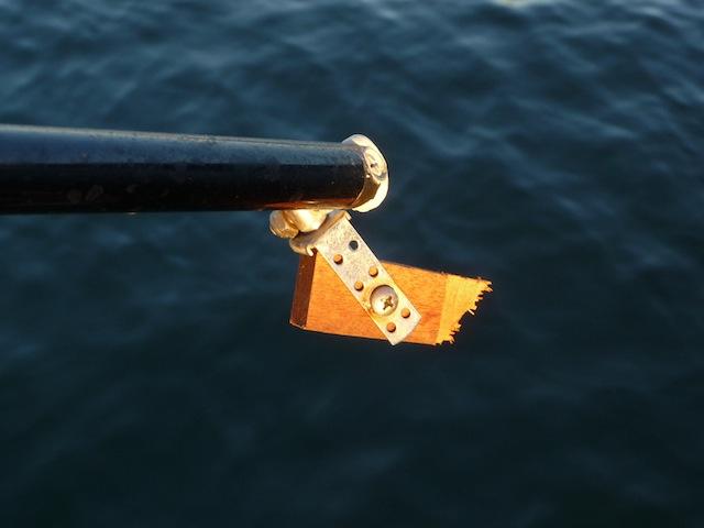 Broken tiller-pilot connection for Aries steering vane