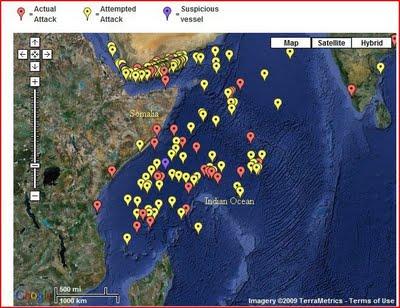 Reported pirate attacks around Somlia