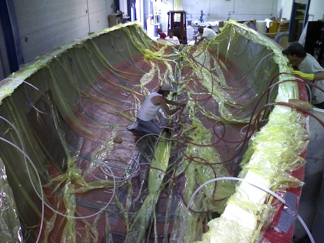 Preparing a hull for resin infusion