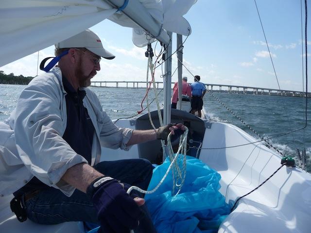 Steve Pettengill aboard a Hunter 18