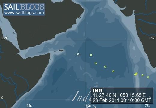 ING track across Indian Ocean