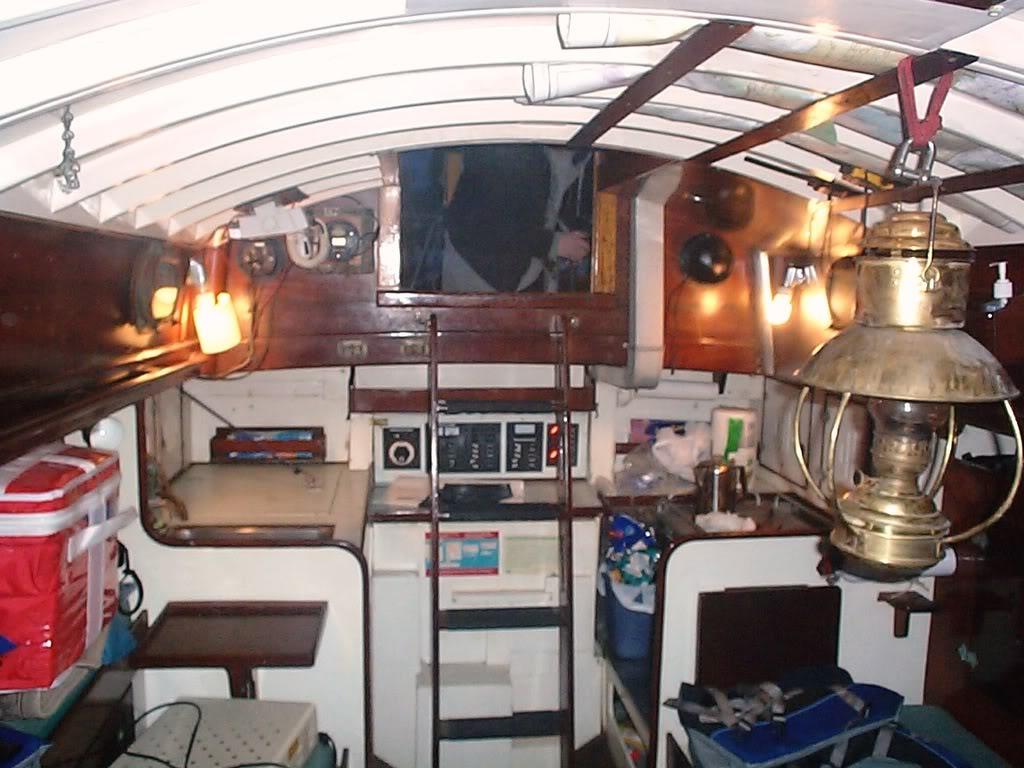 Traditional sailboat interior
