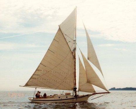 Friendship sloop under sail
