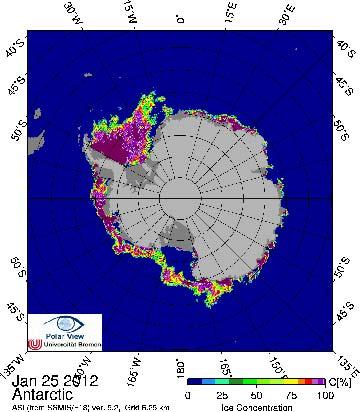 Antarctic sea ice as of January 2012