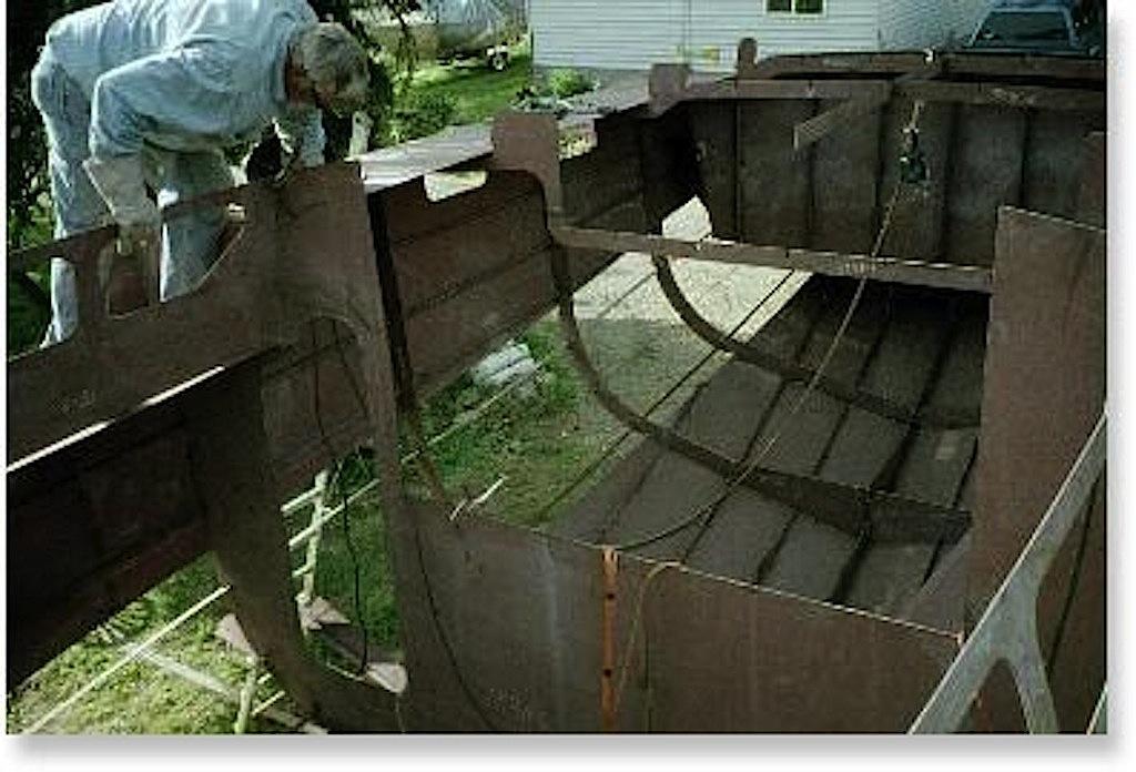 Steel boat in build