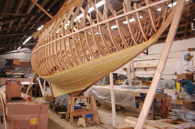 Full keel wood sailboat