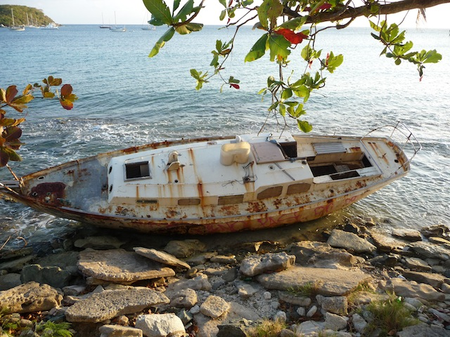 Wrecked yacht