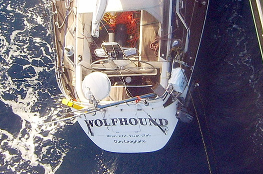 Wolfhound alongside freighter