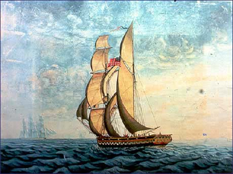 Cleo Barge under sail painting