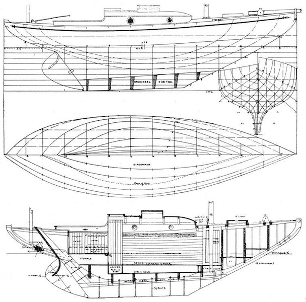 Canoe-yawl lines