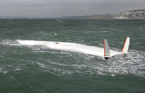 Capsized boat without keel