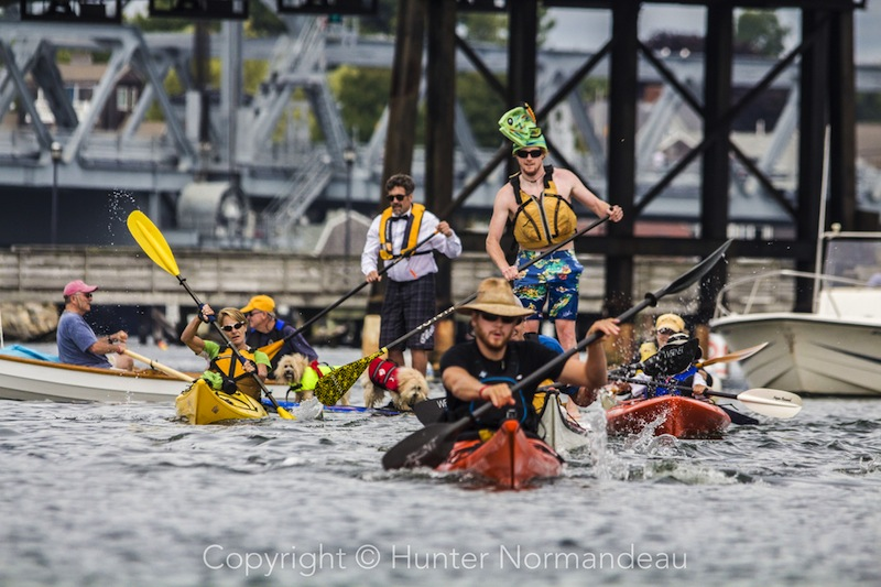 Paddlers in action