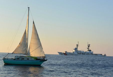 Malia with sails up