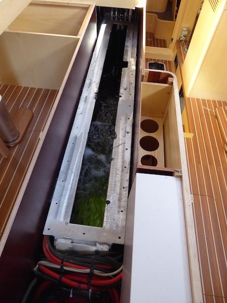 Centerboard trunk open